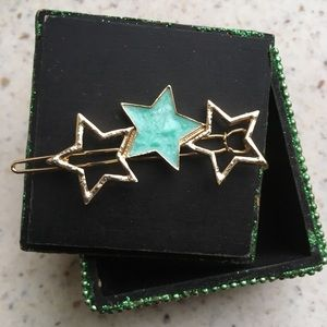 Enamel and brass star hair clip